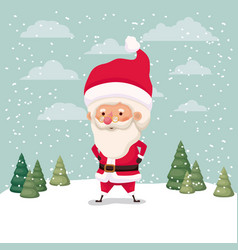 little santa claus character in snowscape vector image