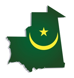 Mauritania africa map flag vector
