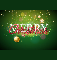 merry christmas with intertwined tube vector image