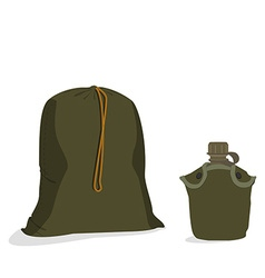Military sack and canteen vector image