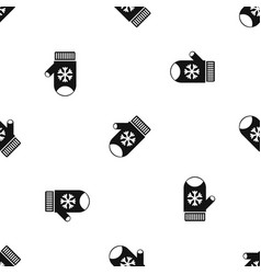 Mitten with snowflake pattern seamless black vector