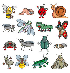 Mosquito friendly cute insect cartoon vector