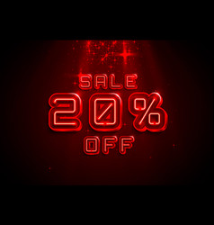 neon frame 20 off text banner night sign board vector image