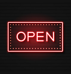 Open neon sign ready for your design greeting vector
