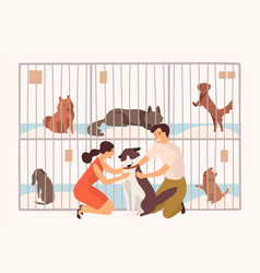 pair of smiling young man and woman adopting pet vector image