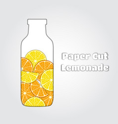 Paper cut lemonade papercut lemon orange vector