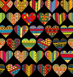 Patterned hearts set seamless background vector image