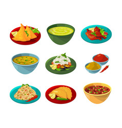 Pictures of indian national cuisine vector