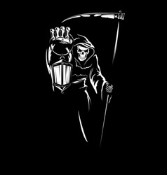 reaper with scygrim death with lantern vector image
