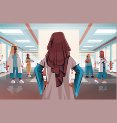 Rear view female doctor discussing with arabic vector