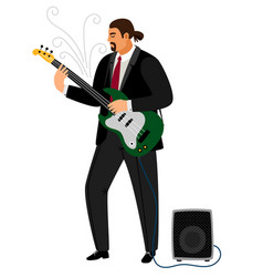 rock guitarist man playing musical guitar vector image