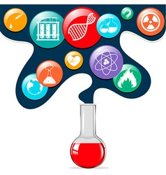 Science symbols and glass beaker vector image