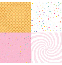 seamless background with donut and ice cream vector image