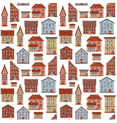 seamless flat house pattern-01 vector image