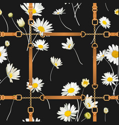 seamless pattern with golden chains straps daisy vector image