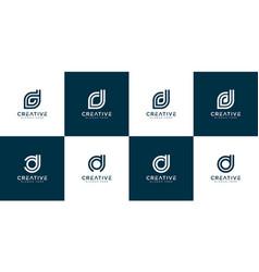 Set initials d logo design template vector