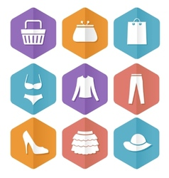 set modern flat sale icons shopping vector image