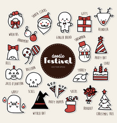 set of festival icons doodle vector image