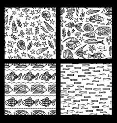 set of seamless sea underwater patterns vector image