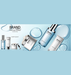 Set thermal water cosmetic with facial essence vector