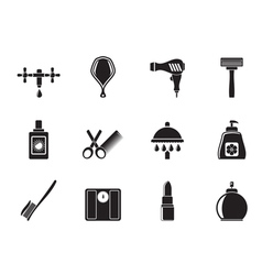 Silhouette Personal care and cosmetics icons vector