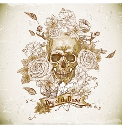 Skull with Roses Day of The Dead vector