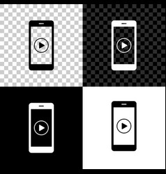 smartphone with play button on screen icon vector image