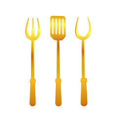 Spatula and fork gold tools vector