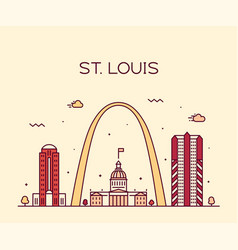 St louis city skyline missouri usa linear vector