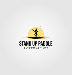 stand up paddle vintage logo silhouette design vector image