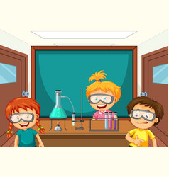 Students working with science tools in lab vector
