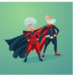 super hero couple old lady and senior adult man vector image