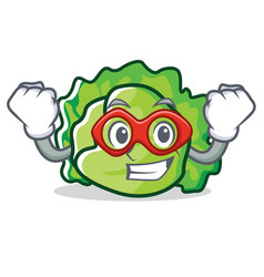 Super hero lettuce character cartoon style vector