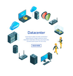 system of data center icons i vector image