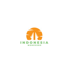 Temple and sunset indonesian logo design vector
