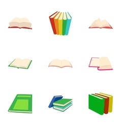 Textbooks icons set cartoon style vector