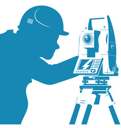 Total station and engineer silhouette vector