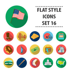usa country set icons in flat style big vector image