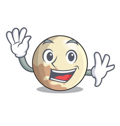 Waving image of planet pluto in character vector