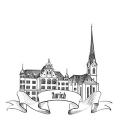 zurich city switzerland travel landmark label vector image