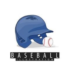 baseball helmet and ball on white background vector image