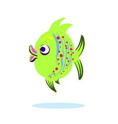 cartoon character mascot cute fish isolated on vector image vector image