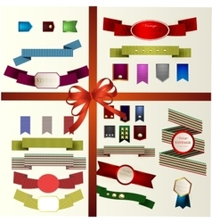 Set of retro ribbons old vector image