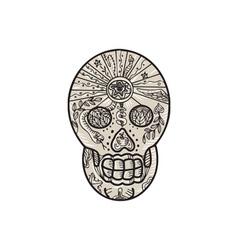 Sugar Skull Tattoo Etching vector image vector image
