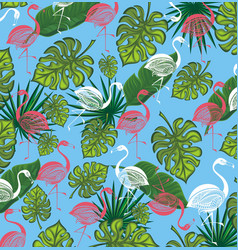 summer background with flamingo and tropic leaves vector image