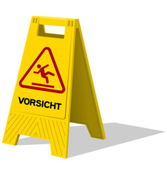 Vorsicht caution two panel yellow sign vector image vector image