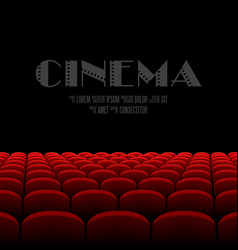 Cinema auditorium with black screen and red seats vector image vector image