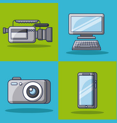 collection gadgets technology innovation modern vector image