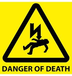 Danger of death sign vector image vector image