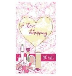 Decorative design card with cosmetics vector